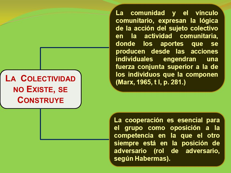 L A C OLECTIVIDAD NO E XISTE, SE C ONSTRUYE La comunidad y el vínculo comunitario, expresan la lógica de la acción del sujeto colectivo en la actividad comunitaria, donde los aportes que se producen desde las acciones individuales engendran una fuerza conjunta superior a la de los individuos que la componen (Marx, 1965, t l, p.