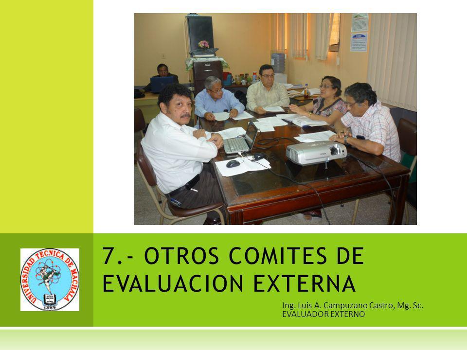 Ing. Luis A. Campuzano Castro, Mg. Sc. EVALUADOR EXTERNO 7.- OTROS COMITES DE EVALUACION EXTERNA