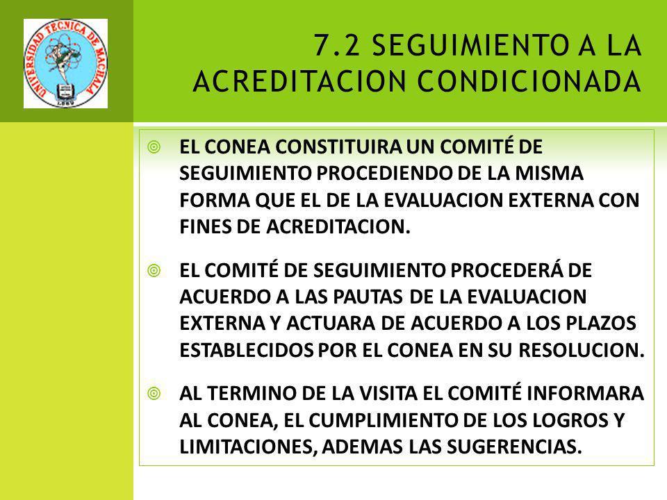 7.2 SEGUIMIENTO A LA ACREDITACION CONDICIONADA EL CONEA CONSTITUIRA UN COMITÉ DE SEGUIMIENTO PROCEDIENDO DE LA MISMA FORMA QUE EL DE LA EVALUACION EXTERNA CON FINES DE ACREDITACION.