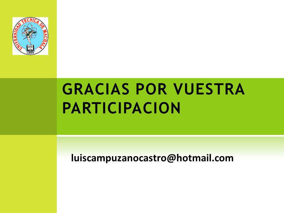 GRACIAS POR VUESTRA PARTICIPACION luiscampuzanocastro@hotmail.com