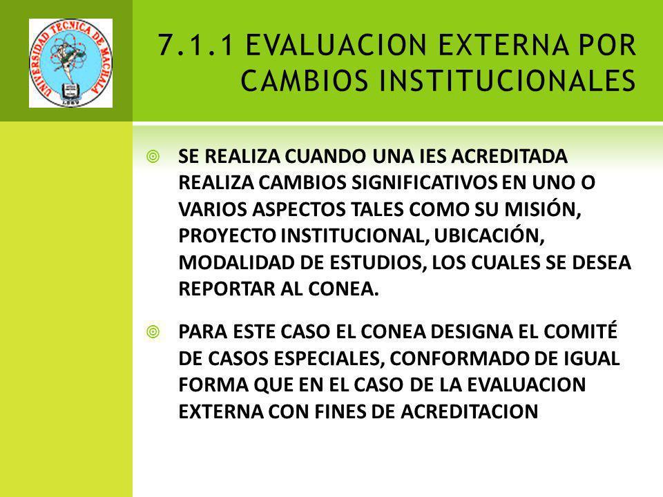 7.1.1 EVALUACION EXTERNA POR CAMBIOS INSTITUCIONALES SE REALIZA CUANDO UNA IES ACREDITADA REALIZA CAMBIOS SIGNIFICATIVOS EN UNO O VARIOS ASPECTOS TALES COMO SU MISIÓN, PROYECTO INSTITUCIONAL, UBICACIÓN, MODALIDAD DE ESTUDIOS, LOS CUALES SE DESEA REPORTAR AL CONEA.