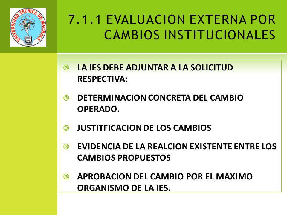 7.1.1 EVALUACION EXTERNA POR CAMBIOS INSTITUCIONALES LA IES DEBE ADJUNTAR A LA SOLICITUD RESPECTIVA: DETERMINACION CONCRETA DEL CAMBIO OPERADO.