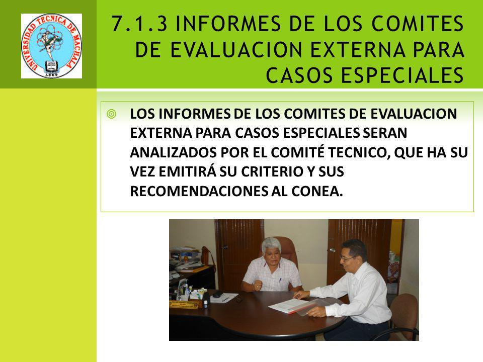 7.1.3 INFORMES DE LOS COMITES DE EVALUACION EXTERNA PARA CASOS ESPECIALES LOS INFORMES DE LOS COMITES DE EVALUACION EXTERNA PARA CASOS ESPECIALES SERAN ANALIZADOS POR EL COMITÉ TECNICO, QUE HA SU VEZ EMITIRÁ SU CRITERIO Y SUS RECOMENDACIONES AL CONEA.