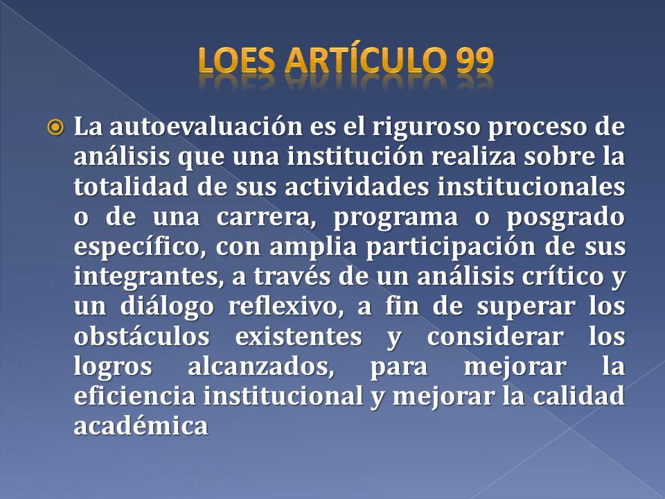 La autoevaluación es el riguroso proceso de análisis que una institución realiza sobre la totalidad de sus actividades institucionales o de una carrer