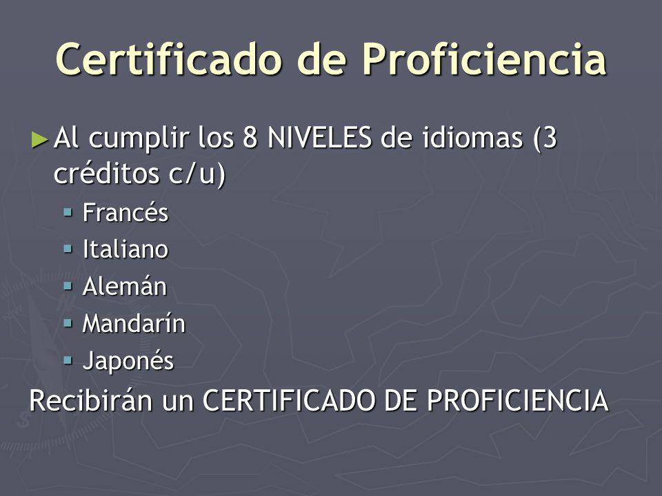 Certificado de Proficiencia Al cumplir los 8 NIVELES de idiomas (3 créditos c/u) Al cumplir los 8 NIVELES de idiomas (3 créditos c/u) Francés Francés Italiano Italiano Alemán Alemán Mandarín Mandarín Japonés Japonés Recibirán un CERTIFICADO DE PROFICIENCIA