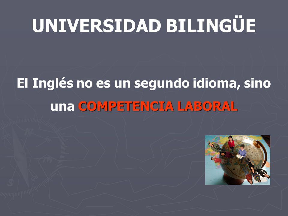 UNIVERSIDAD BILINGÜE El Inglés no es un segundo idioma, sino COMPETENCIA LABORAL una COMPETENCIA LABORAL