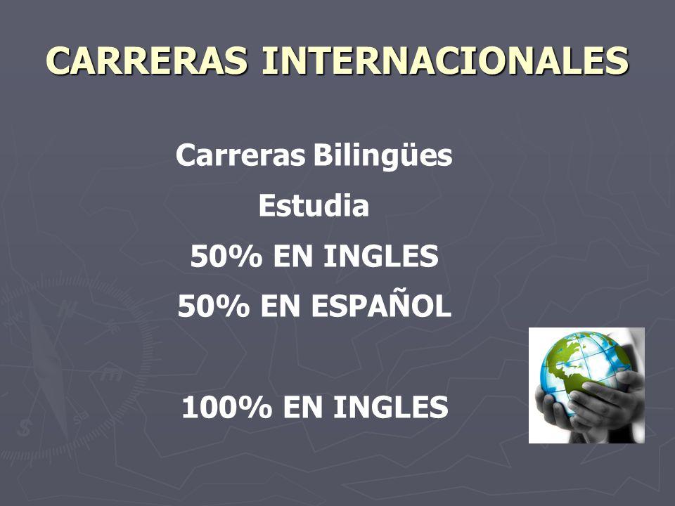 CARRERAS INTERNACIONALES Carreras Bilingües Estudia 50% EN INGLES 50% EN ESPAÑOL 100% EN INGLES