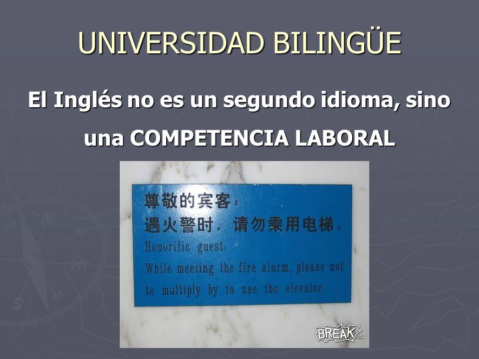 UNIVERSIDAD BILINGÜE El Inglés no es un segundo idioma, sino una COMPETENCIA LABORAL