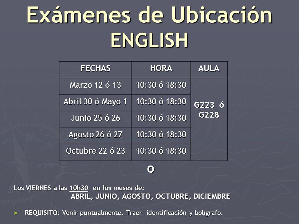 Exámenes de Ubicación ENGLISH o Los VIERNES a las 10h30 en los meses de: ABRIL, JUNIO, AGOSTO, OCTUBRE, DICIEMBRE REQUISITO: Venir puntualmente.