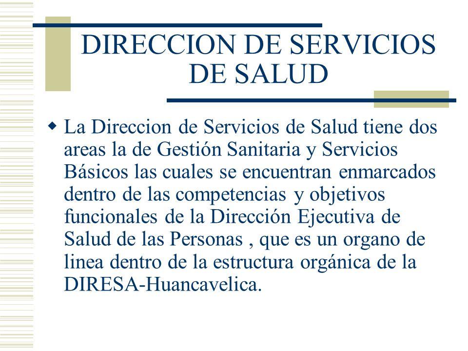 DIRECCION DE SERVICIOS DE SALUD La Direccion de Servicios de Salud tiene dos areas la de Gestión Sanitaria y Servicios Básicos las cuales se encuentra