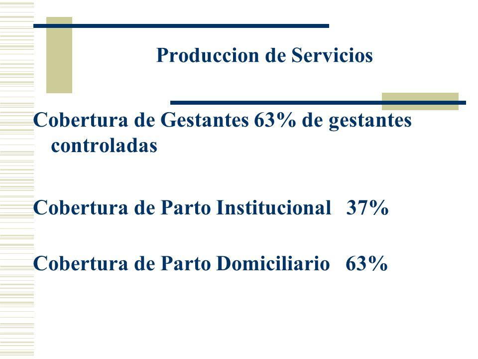 Cobertura de Gestantes 63% de gestantes controladas Produccion de Servicios Cobertura de Parto Institucional 37% Cobertura de Parto Domiciliario 63%