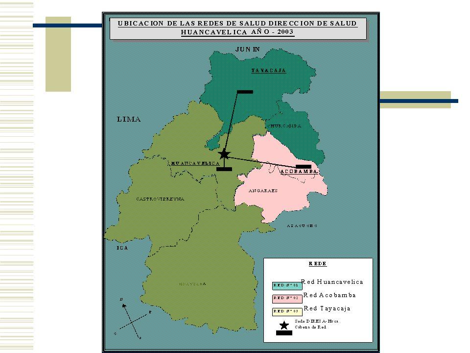 Distancias y Tiempos RED Tayacaja; con 36.14 H/K2, tambien cuenta con zonas de alta dispersión, cabe destacar que sus corredores socioeconomicos son los departamentos de Junin y Ayacucho.