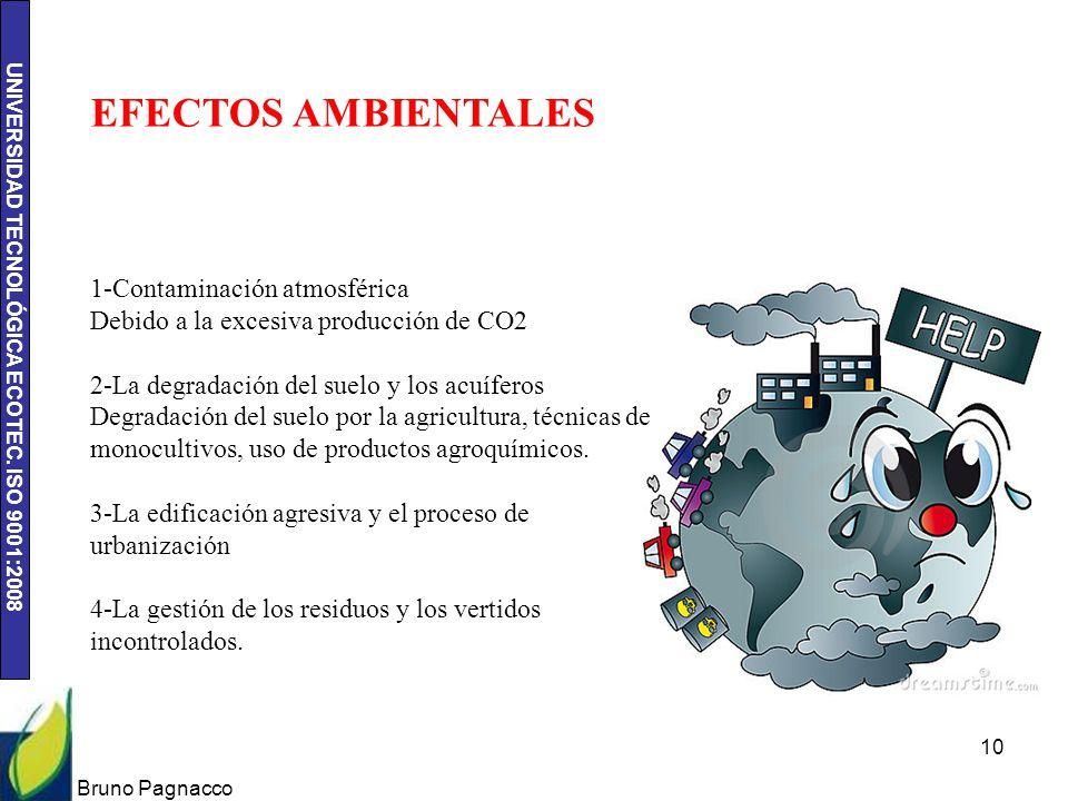 UNIVERSIDAD TECNOLÓGICA ECOTEC. ISO 9001:2008 Bruno Pagnacco 10 EFECTOS AMBIENTALES 1-Contaminación atmosférica Debido a la excesiva producción de CO2