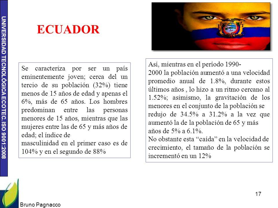 UNIVERSIDAD TECNOLÓGICA ECOTEC. ISO 9001:2008 Bruno Pagnacco 17 ECUADOR Se caracteriza por ser un país eminentemente joven; cerca del un tercio de su
