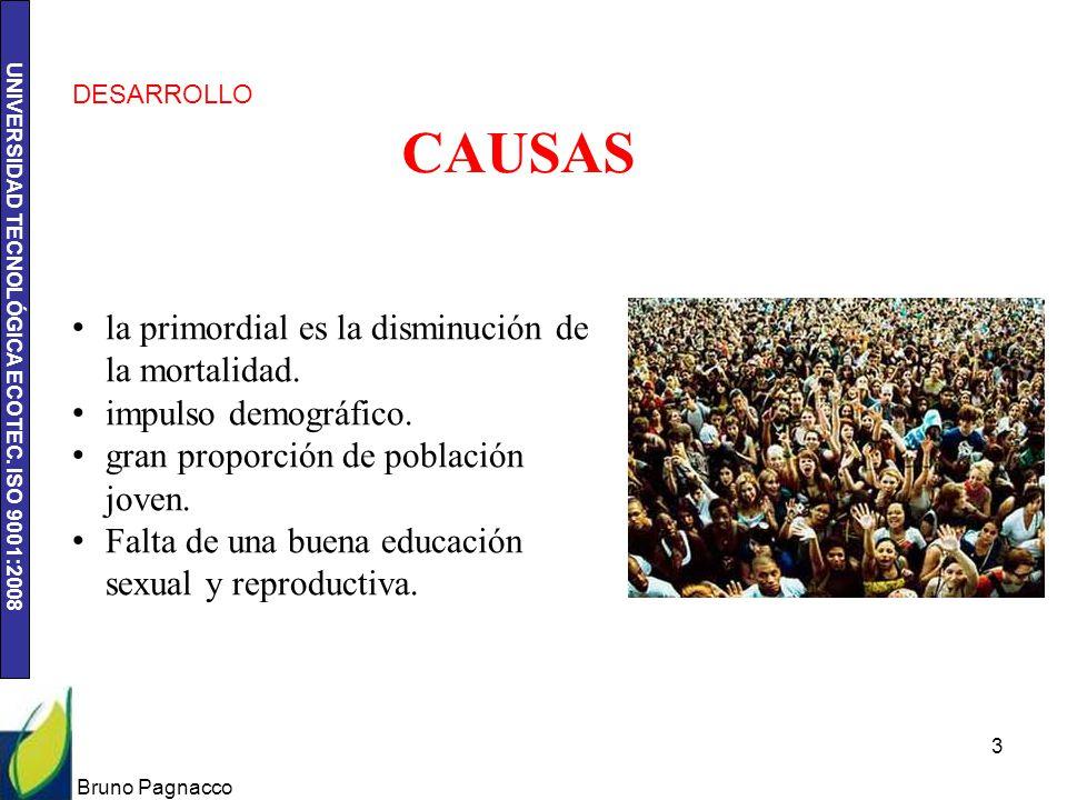 UNIVERSIDAD TECNOLÓGICA ECOTEC. ISO 9001:2008 Bruno Pagnacco 3 CAUSAS la primordial es la disminución de la mortalidad. impulso demográfico. gran prop