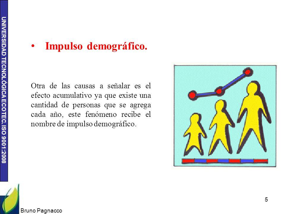 UNIVERSIDAD TECNOLÓGICA ECOTEC. ISO 9001:2008 Bruno Pagnacco 5 Impulso demográfico. Otra de las causas a señalar es el efecto acumulativo ya que exist