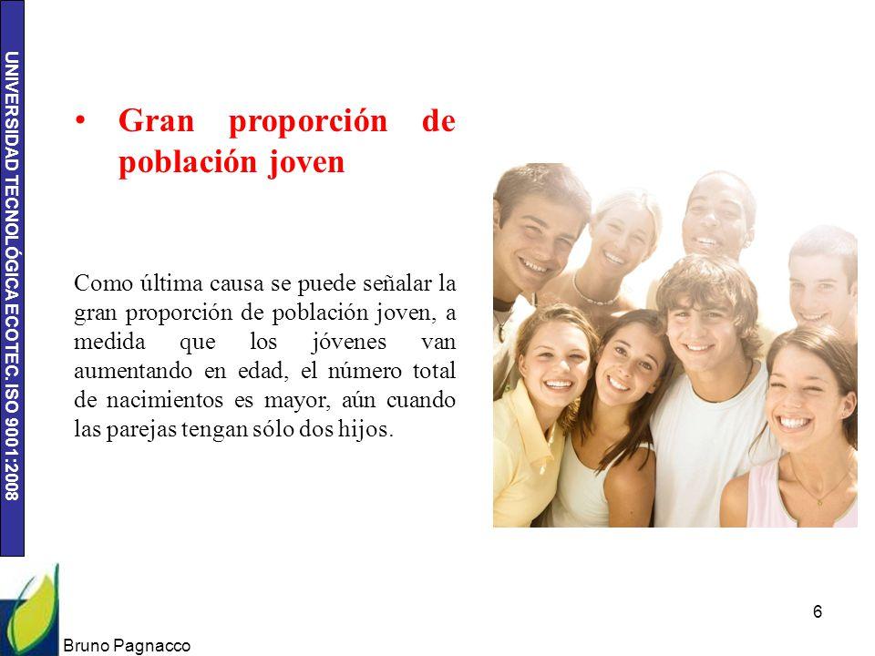 UNIVERSIDAD TECNOLÓGICA ECOTEC. ISO 9001:2008 Bruno Pagnacco 6 Gran proporción de población joven Como última causa se puede señalar la gran proporció