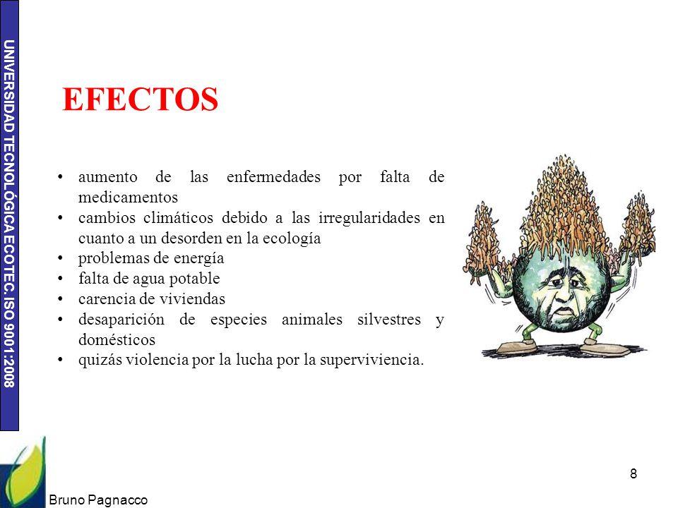 UNIVERSIDAD TECNOLÓGICA ECOTEC. ISO 9001:2008 Bruno Pagnacco 8 aumento de las enfermedades por falta de medicamentos cambios climáticos debido a las i