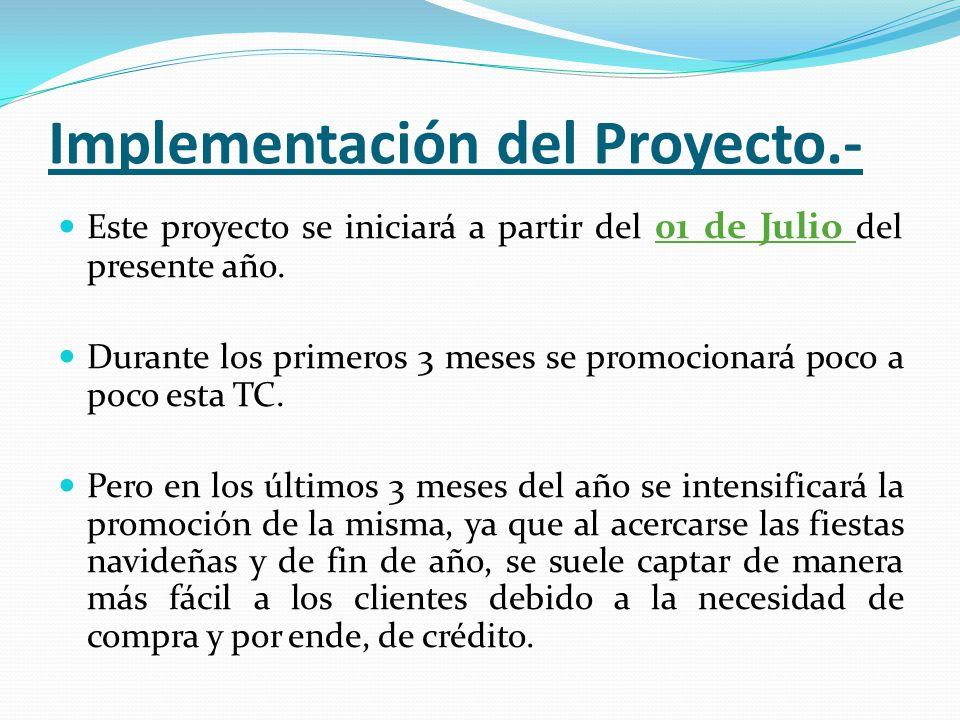 Implementación del Proyecto.- Este proyecto se iniciará a partir del 01 de Julio del presente año.