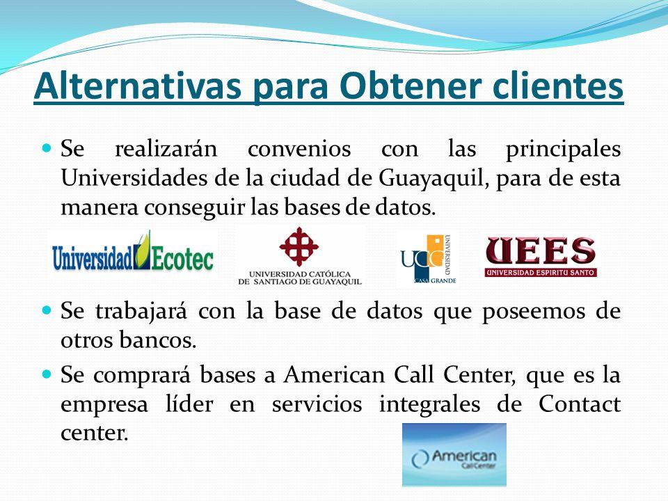 Alternativas para Obtener clientes Se realizarán convenios con las principales Universidades de la ciudad de Guayaquil, para de esta manera conseguir las bases de datos.