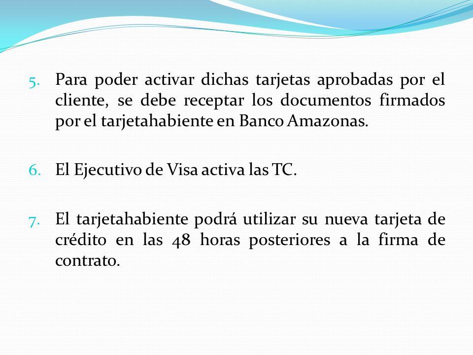 5. Para poder activar dichas tarjetas aprobadas por el cliente, se debe receptar los documentos firmados por el tarjetahabiente en Banco Amazonas. 6.