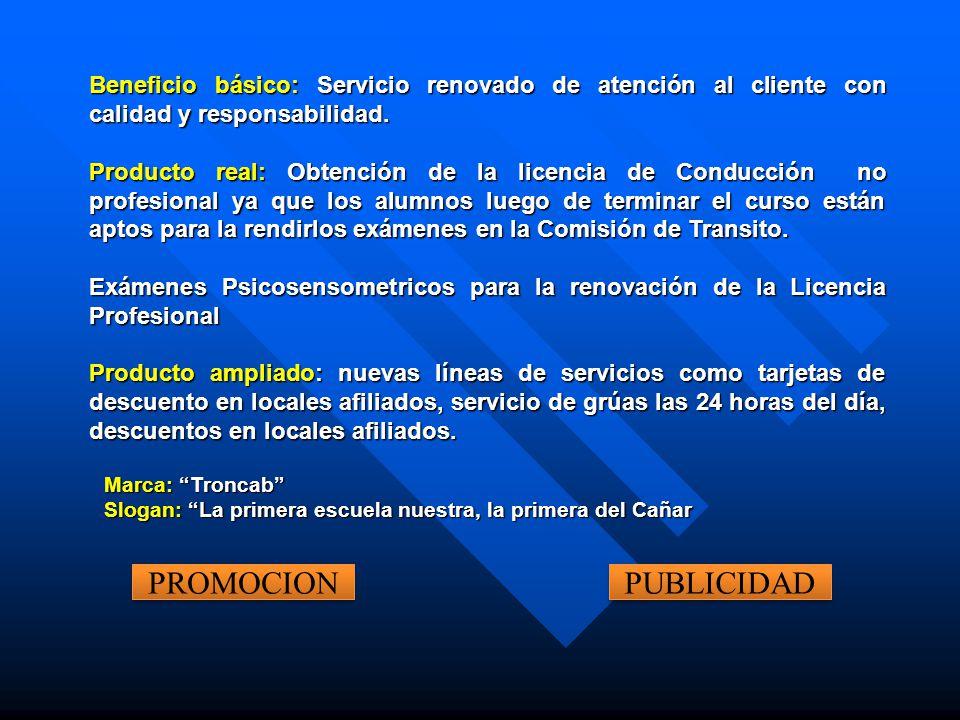 Beneficio básico: Servicio renovado de atención al cliente con calidad y responsabilidad. Producto real: Obtención de la licencia de Conducción no pro
