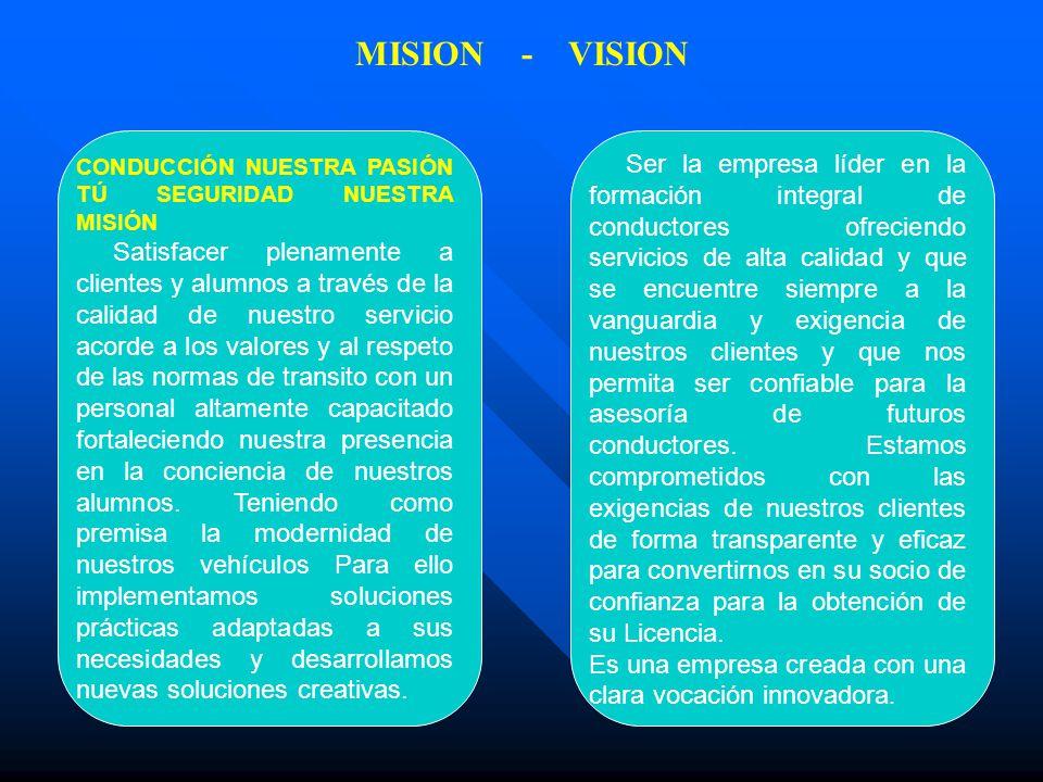 MISION - VISION CONDUCCIÓN NUESTRA PASIÓN TÚ SEGURIDAD NUESTRA MISIÓN Satisfacer plenamente a clientes y alumnos a través de la calidad de nuestro ser