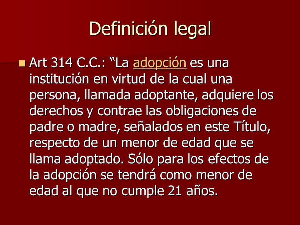 Terminación de la adopción El codigo establece dos formas fundamentales de terminación de la adopción: El codigo establece dos formas fundamentales de terminación de la adopción: 1.