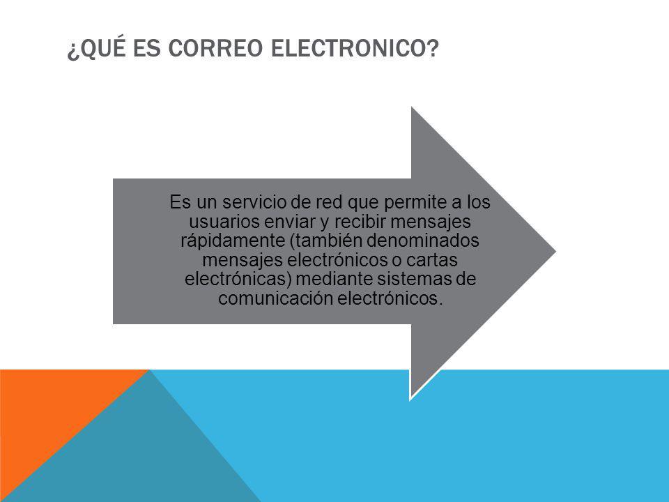 ¿QUÉ ES CORREO ELECTRONICO? Es un servicio de red que permite a los usuarios enviar y recibir mensajes rápidamente (también denominados mensajes elect