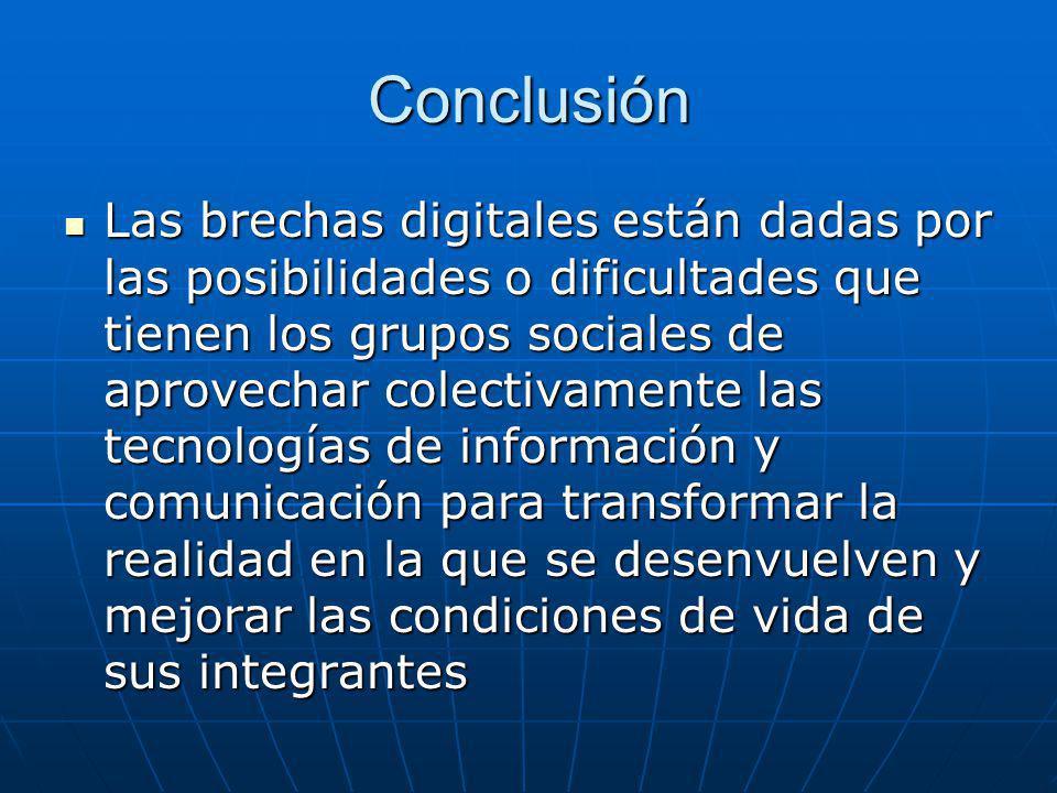 Conclusión Las brechas digitales están dadas por las posibilidades o dificultades que tienen los grupos sociales de aprovechar colectivamente las tecn