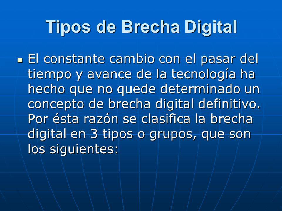 ·Brecha Digital de Acceso Este tipo de Brecha Digital se basa en la posibilidad o bien la dificultad que una persona puede llegar a tener para disponer de una computadora conectada al Internet, esto de igual forma incluye lo que son las redes avanzadas como tener servidores.