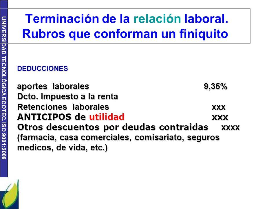 UNIVERSIDAD TECNOLÓGICA ECOTEC. ISO 9001:2008 Terminación de la relación laboral. Rubros que conforman un finiquito DEDUCCIONES aportes laborales 9,35