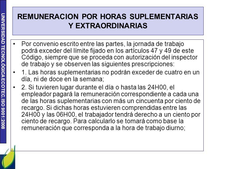UNIVERSIDAD TECNOLÓGICA ECOTEC. ISO 9001:2008 REMUNERACION POR HORAS SUPLEMENTARIAS Y EXTRAORDINARIAS Por convenio escrito entre las partes, la jornad