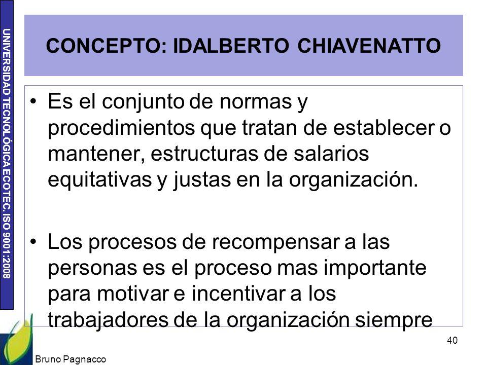 UNIVERSIDAD TECNOLÓGICA ECOTEC. ISO 9001:2008 CONCEPTO: IDALBERTO CHIAVENATTO Es el conjunto de normas y procedimientos que tratan de establecer o man