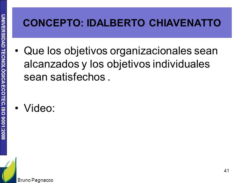 UNIVERSIDAD TECNOLÓGICA ECOTEC. ISO 9001:2008 CONCEPTO: IDALBERTO CHIAVENATTO Que los objetivos organizacionales sean alcanzados y los objetivos indiv