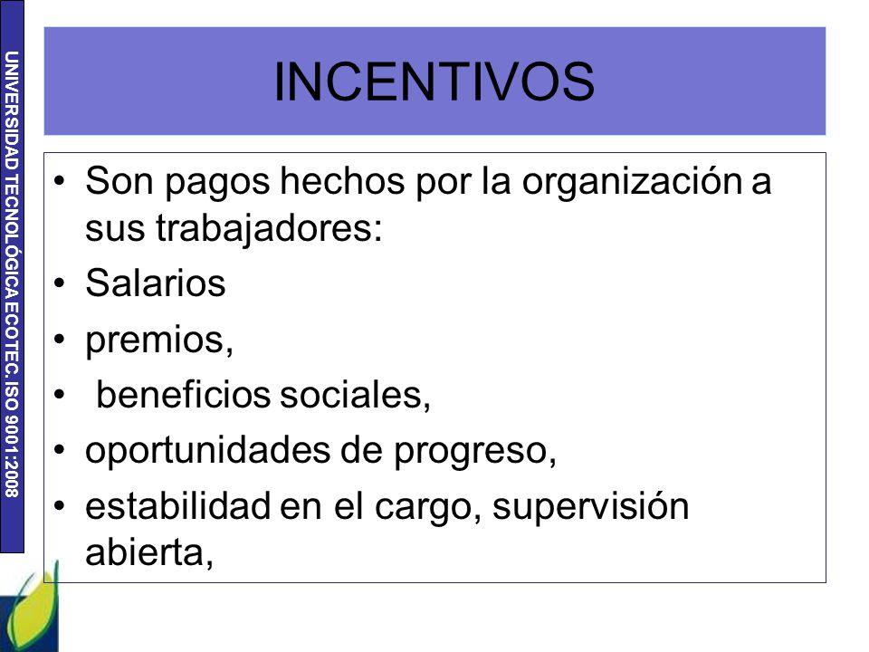 UNIVERSIDAD TECNOLÓGICA ECOTEC. ISO 9001:2008 INCENTIVOS Son pagos hechos por la organización a sus trabajadores: Salarios premios, beneficios sociale