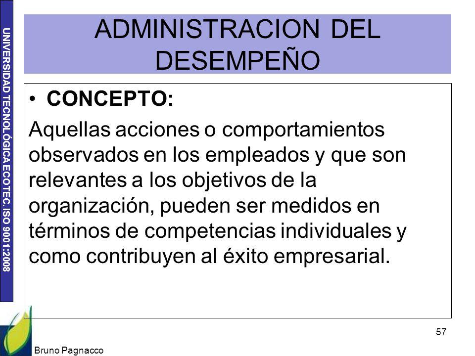 UNIVERSIDAD TECNOLÓGICA ECOTEC. ISO 9001:2008 ADMINISTRACION DEL DESEMPEÑO CONCEPTO: Aquellas acciones o comportamientos observados en los empleados y