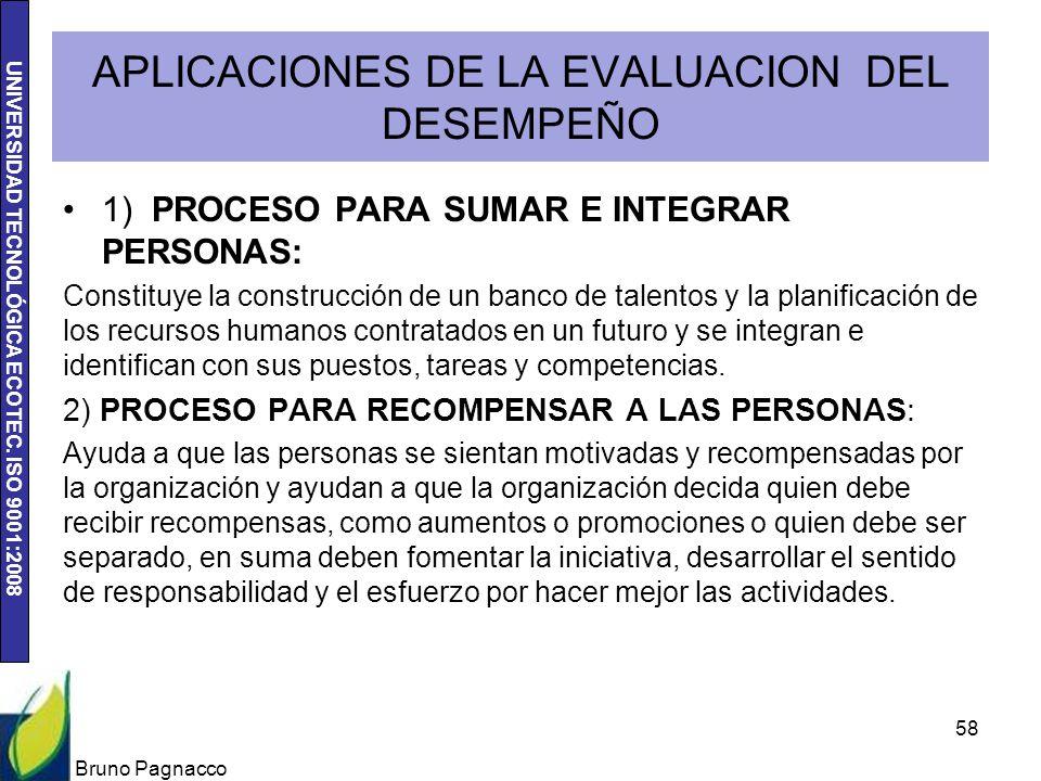 UNIVERSIDAD TECNOLÓGICA ECOTEC. ISO 9001:2008 APLICACIONES DE LA EVALUACION DEL DESEMPEÑO 1) PROCESO PARA SUMAR E INTEGRAR PERSONAS: Constituye la con