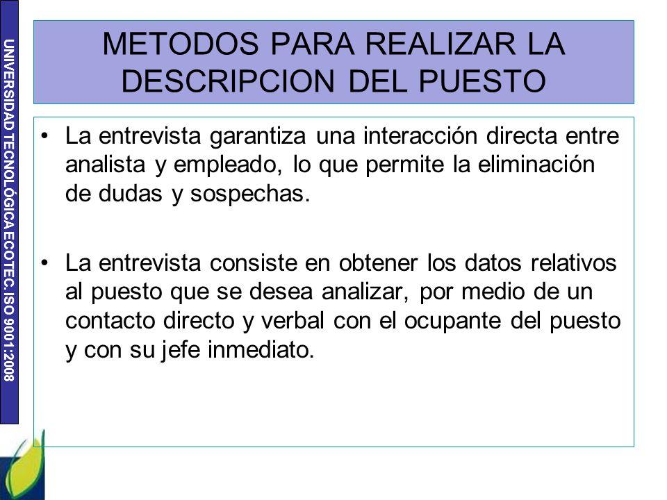 UNIVERSIDAD TECNOLÓGICA ECOTEC. ISO 9001:2008 METODOS PARA REALIZAR LA DESCRIPCION DEL PUESTO La entrevista garantiza una interacción directa entre an