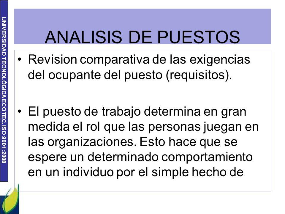 UNIVERSIDAD TECNOLÓGICA ECOTEC. ISO 9001:2008 ANALISIS DE PUESTOS Revision comparativa de las exigencias del ocupante del puesto (requisitos). El pues