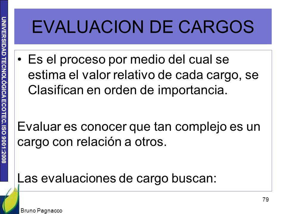 UNIVERSIDAD TECNOLÓGICA ECOTEC. ISO 9001:2008 EVALUACION DE CARGOS Es el proceso por medio del cual se estima el valor relativo de cada cargo, se Clas