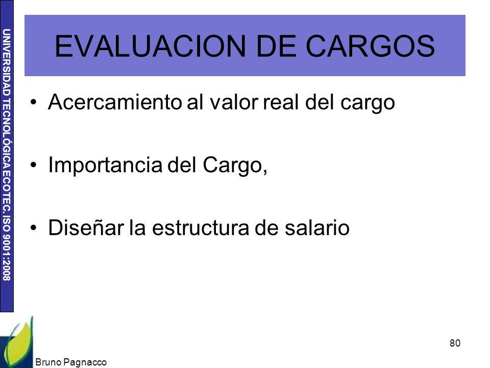 UNIVERSIDAD TECNOLÓGICA ECOTEC. ISO 9001:2008 EVALUACION DE CARGOS Acercamiento al valor real del cargo Importancia del Cargo, Diseñar la estructura d