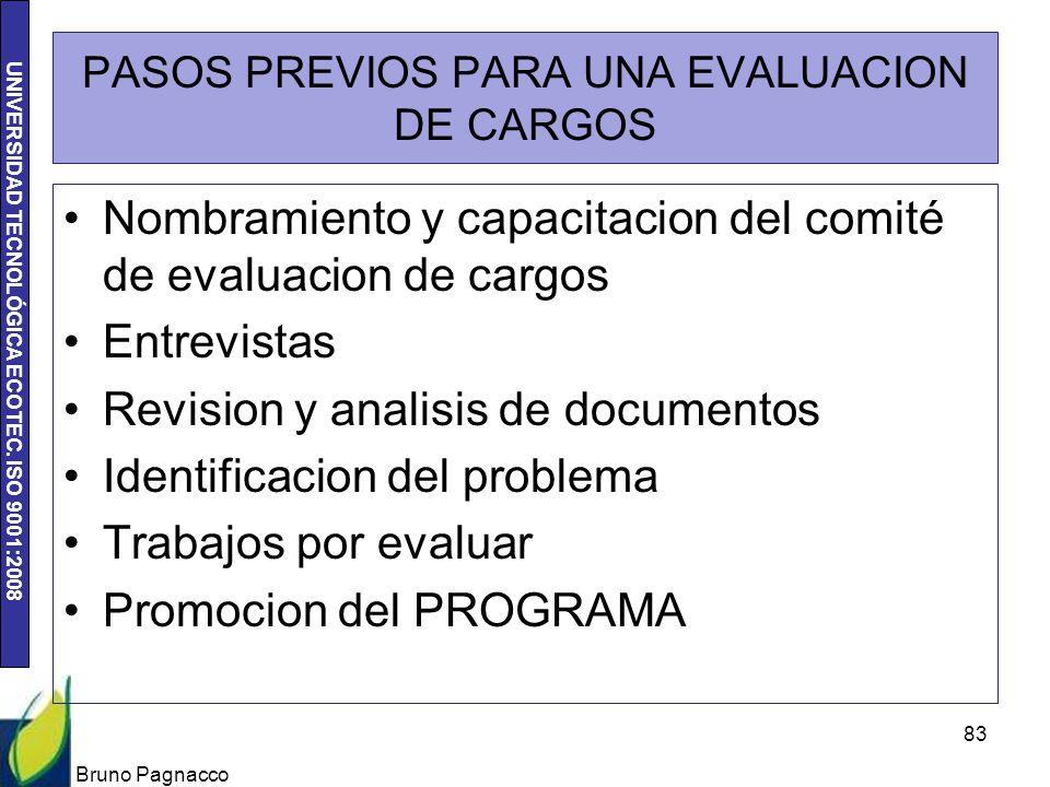 UNIVERSIDAD TECNOLÓGICA ECOTEC. ISO 9001:2008 PASOS PREVIOS PARA UNA EVALUACION DE CARGOS Nombramiento y capacitacion del comité de evaluacion de carg