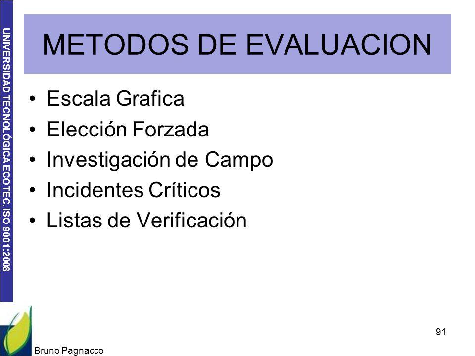UNIVERSIDAD TECNOLÓGICA ECOTEC. ISO 9001:2008 METODOS DE EVALUACION Escala Grafica Elección Forzada Investigación de Campo Incidentes Críticos Listas