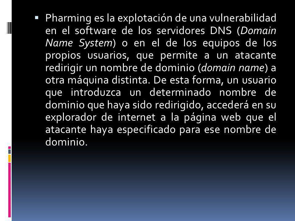 Pharming es la explotación de una vulnerabilidad en el software de los servidores DNS (Domain Name System) o en el de los equipos de los propios usuar