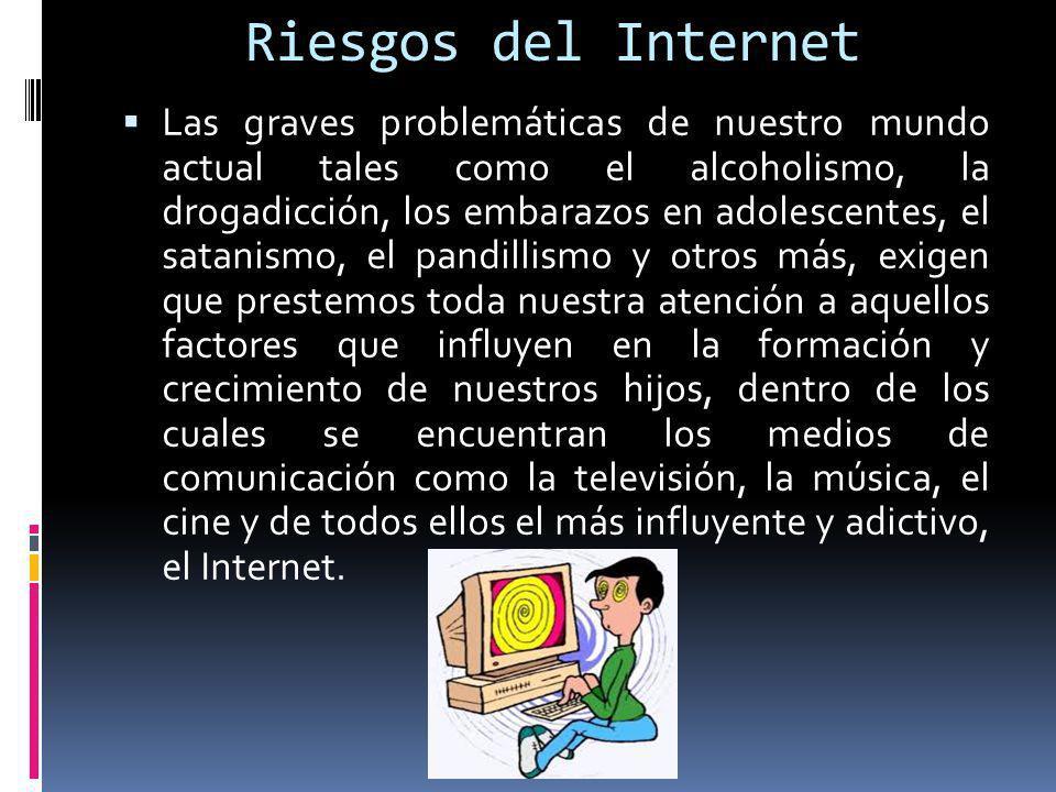 Riesgos del Internet Las graves problemáticas de nuestro mundo actual tales como el alcoholismo, la drogadicción, los embarazos en adolescentes, el sa