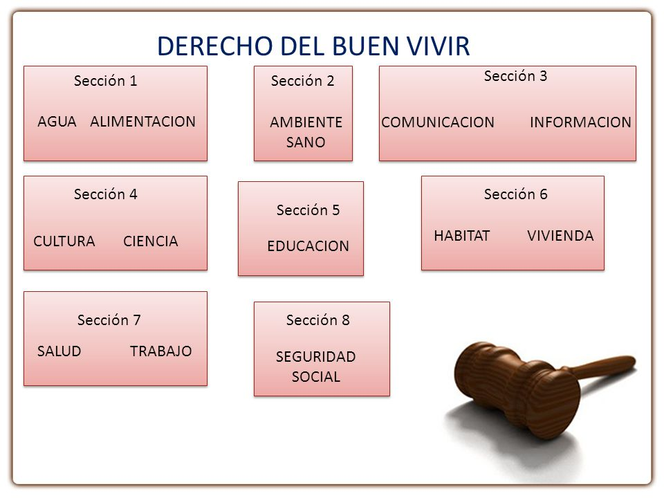 DERECHO DEL BUEN VIVIR AGUAALIMENTACION AMBIENTE SANO COMUNICACIONINFORMACION CULTURACIENCIA EDUCACION HABITATVIVIENDA SALUDTRABAJO SEGURIDAD SOCIAL S