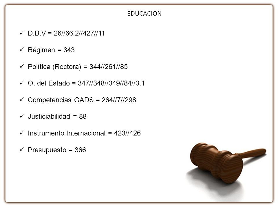 EDUCACION D.B.V = 26//66.2//427//11 Régimen = 343 Política (Rectora) = 344//261//85 O. del Estado = 347//348//349//84//3.1 Competencias GADS = 264//7/