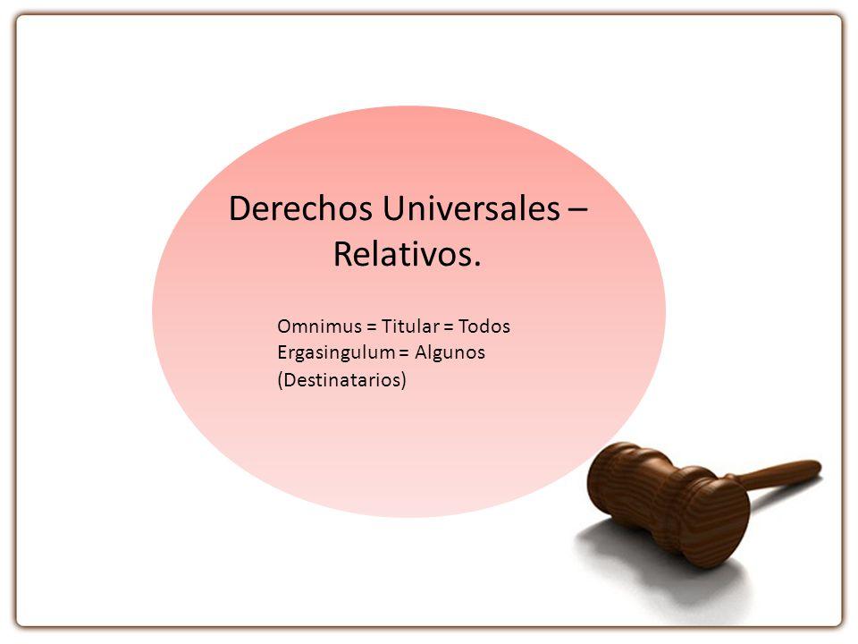 Derechos Universales – Relativos. Omnimus = Titular = Todos Ergasingulum = Algunos (Destinatarios)