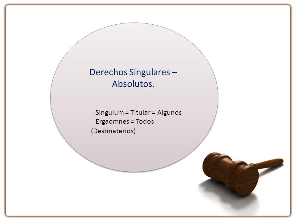 Derechos Singulares – Absolutos. Singulum = Titular = Algunos Ergaomnes = Todos (Destinatarios)